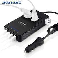 AOSHIKE Car Inverter 12V 24V to 220V Auto Power Inverter Voltage Converter Car Air Purifier 4 USB Car Charger 2 Triangle Socket