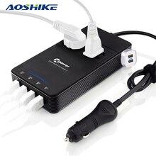 Aoshike inversor de tensão automotiva, conversor de voltagem para carro 12v 220v qc 3.0 24v 4usb 250w com carregador purificador de ar, inversor automático