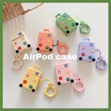 Stereo Flower Luggage For airpods case Cute Silicone Wireless Bluetooth Headset Airpods 1/2 Charging Protection Pack