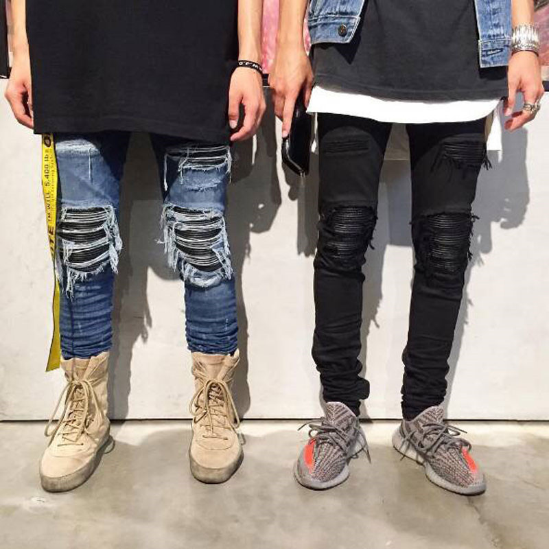2019 New Fashion High Street Fashion Hole Distressed Old Slim Feet Jeans Men's Locomotive Men's Trousers Size 28-36 38