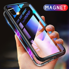 Magnetic Metal Phone Case For OnePlus 7 Pro 6T 5 5T Cases Tempered Glass Back Cover One plus 6 Luxury Bumper