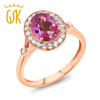 2 16 Ct Oval Pink Mystic Topaz White Created Sapphire 10K Rose Gold Ring