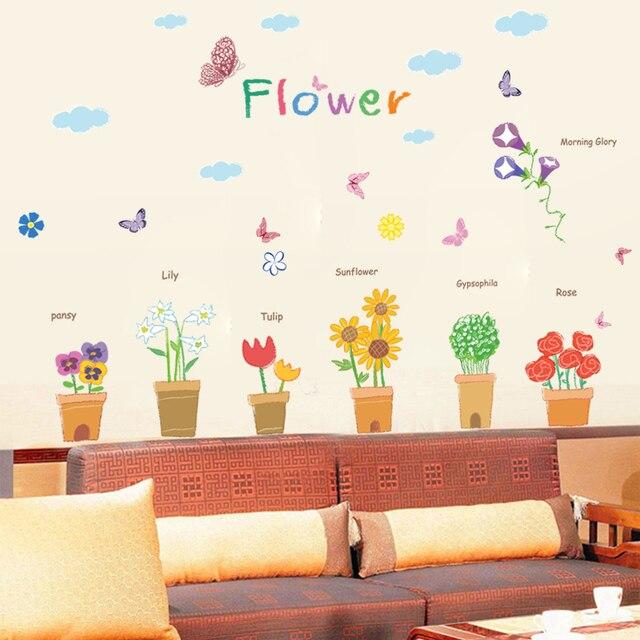 Lukisan Ruang Tamu R Tidur Sudut Jendela Stiker Kaca Tahan Air Fangtie Taman Bunga Pot