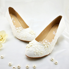 New Style Fashion Popular Formal Shoes Flower Girl Dress Shoes White Pearl wedding Bridal shoes Party Ball Prom Shoes Wedding