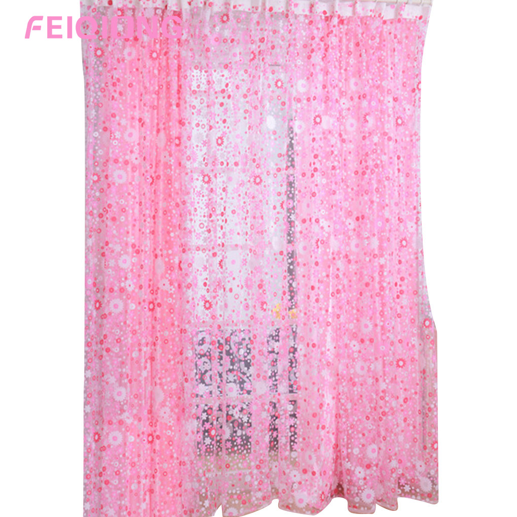 Sheer red window curtains - New Hot Style Rose Red Floral Printed Voile Door Sheer Window Curtains Room Window Curtain Divider