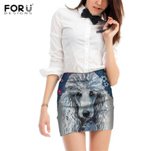 FORUDESIGNS Poodle Sweetheart Printing Women Skirts Ladies Design Cute Puppy Pattern Pencil for Females Fashion Bottoms
