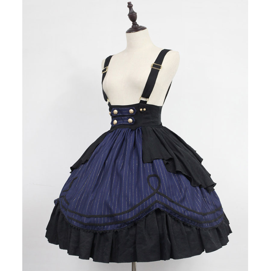 Classic Striped Lolita Suspender Skirt Idol College Series Short Skirt by Soufflesong