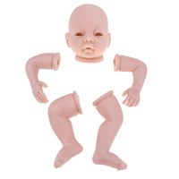 Blank 22 inch Reborn Kit Head 3/4 Arms Full Legs Mold & Cloth Body Baby Newborn Doll Kids Birthday Gift