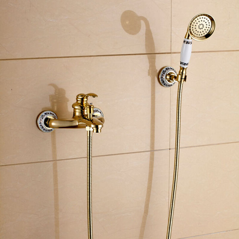 Modern Style Wall Mount Handheld Shower Set Faucet Golden Bathroom Shower Mixer Tap W/ Bracket modern wall mount shower faucet mixer tap w rain shower head