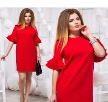 Оборками рукавами женское платье 2018 плюс Размеры летнее платье красные короткие пляжное платье 5XL 6XL большой Размеры мини прямое платье женский халат
