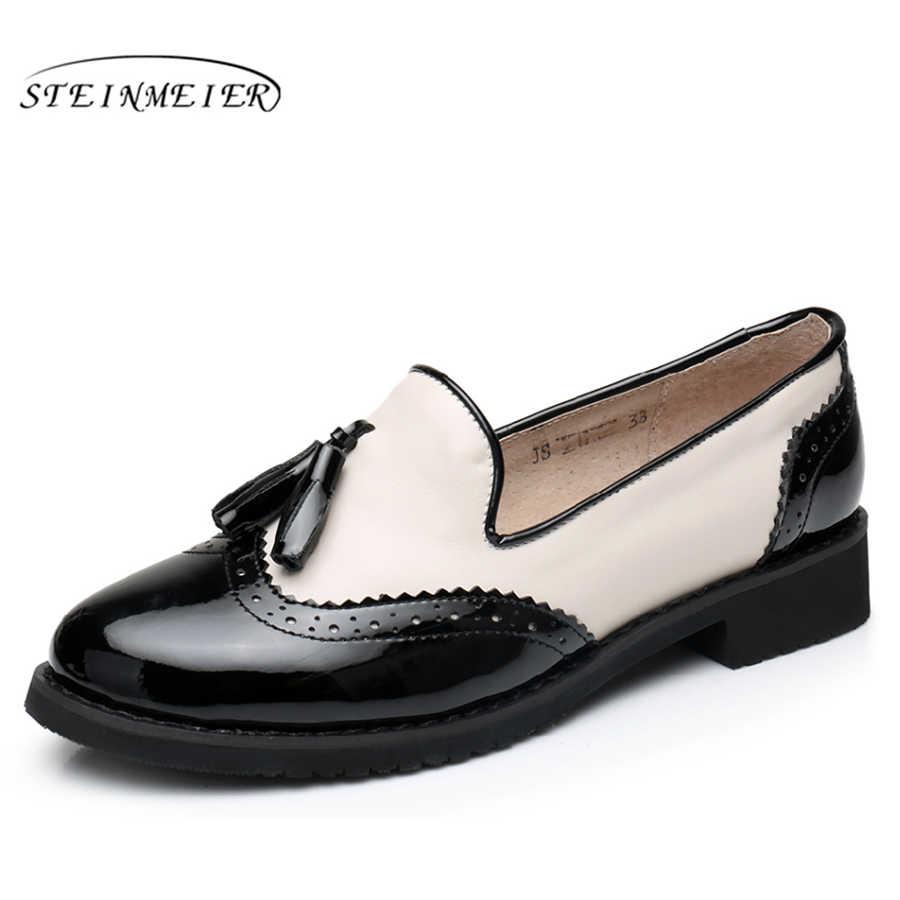 Hakiki inek deri brogues tasarımcı vintage flats ayakkabı el yapımı büyük ABD 11 siyah yeşil kırmızı oxford ayakkabı ile kadınlar için kürk