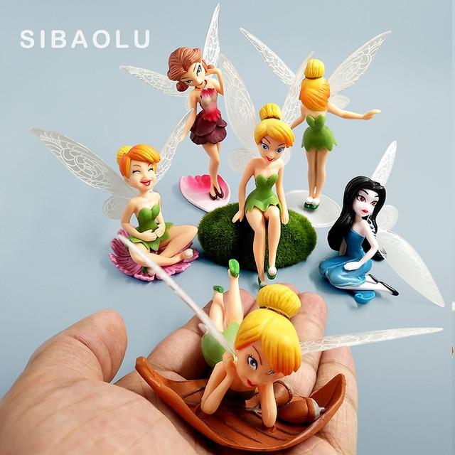 6pcs/set Flower Fairy Figurine Wedding Cake Decoration Fairy Garden Statue  Sculpture Miniature Ornaments Toy