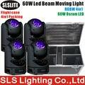 4 pçs/lote com caso do vôo Mágico dot rotação ilimitada 60 W feixe obotic led moving head feixe de luz led fase luz de discoteca led
