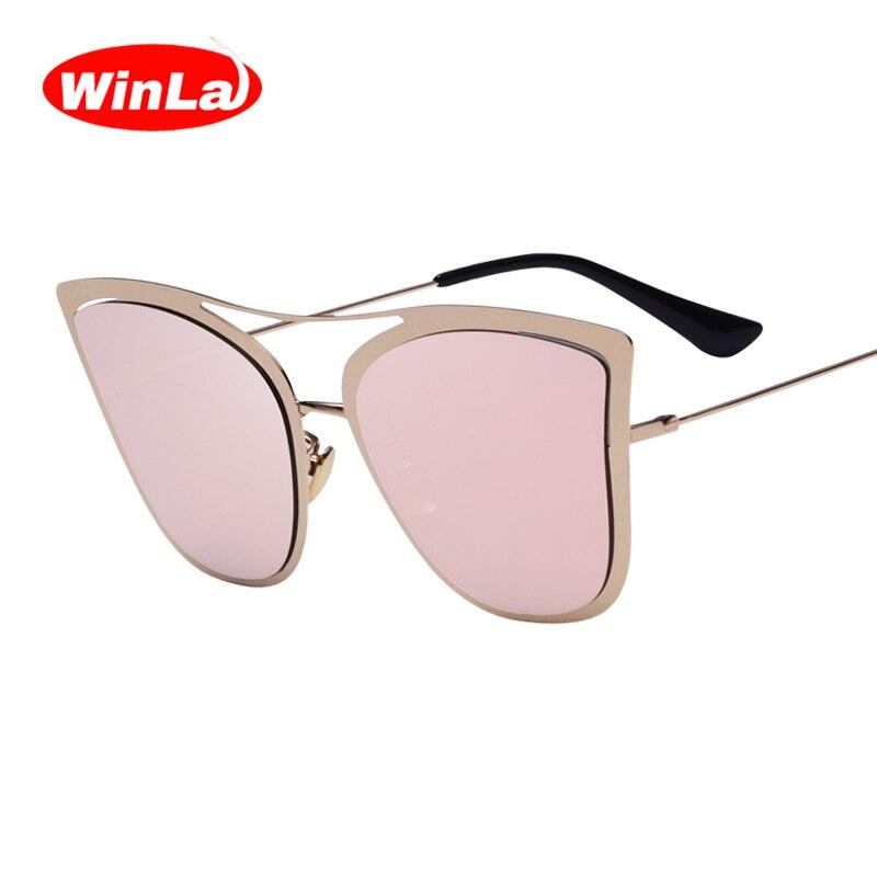 Winla New Arrival Cat Eye Sunglasses Women 2017 Fashion Designer Metal Frame Coating Lens Sun Glasses