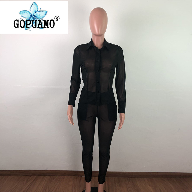 Plus Size Sheer Mesh Sexy 2 Piece Matching Sets Women Buttons Up Full Sleeve Blouse Top And Pencil Pants Club Outfit Tracksuits