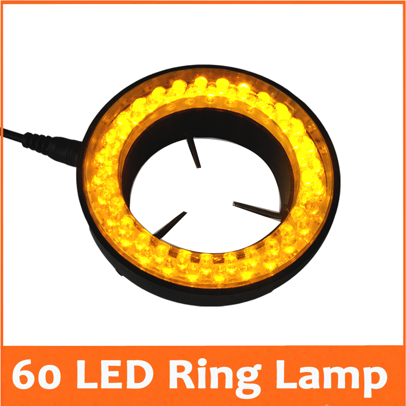 ФОТО Yellow Color Lights - 60pcs LED Illuminated Adjustable Microscope Ring Lamp Adapter 220V 110V for Stereo Biological Microscope