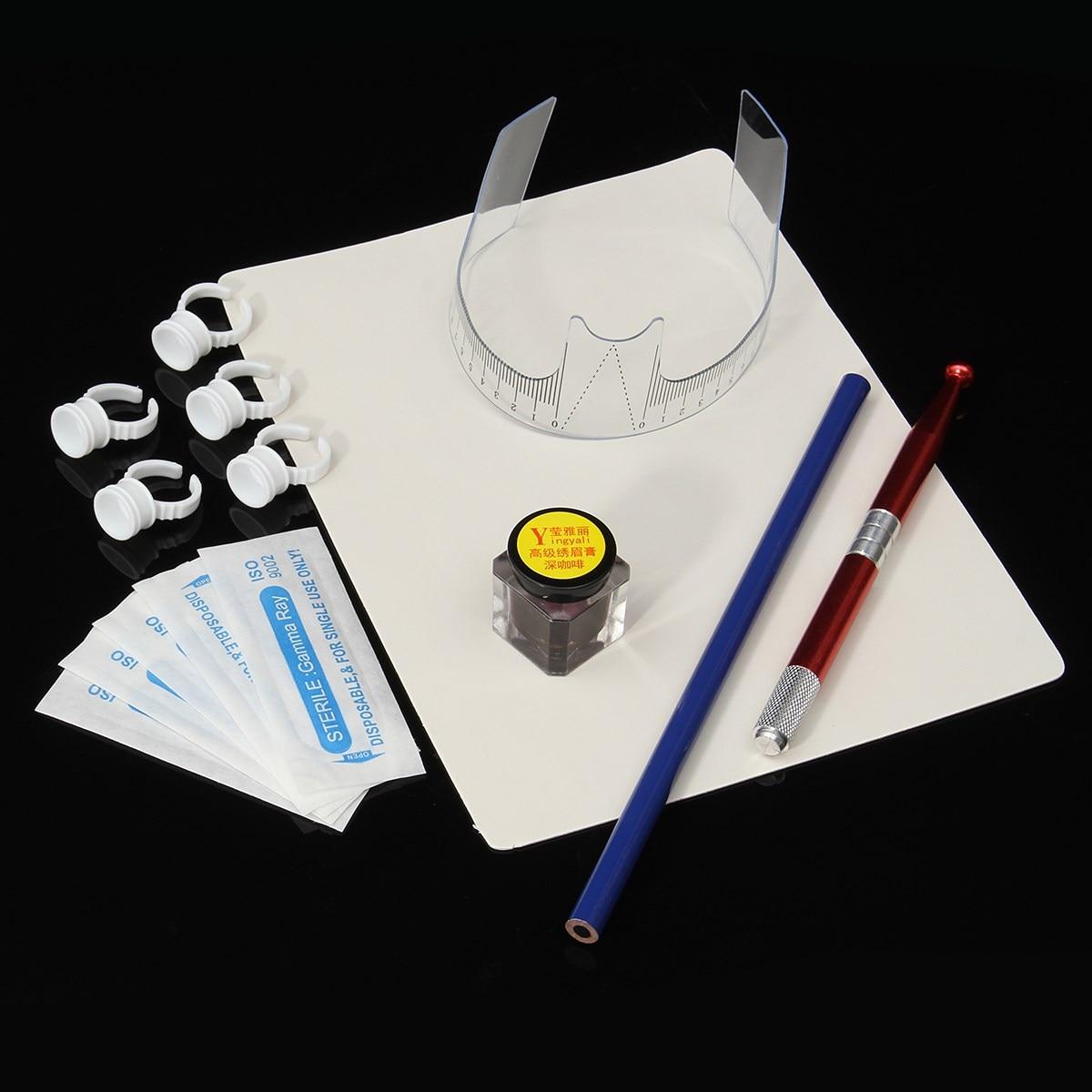 Professional Microblading Manual Tattoo Pen Pigment Needle Ring Ruler Practice Skin Kit Set Permanent Makeup 3D