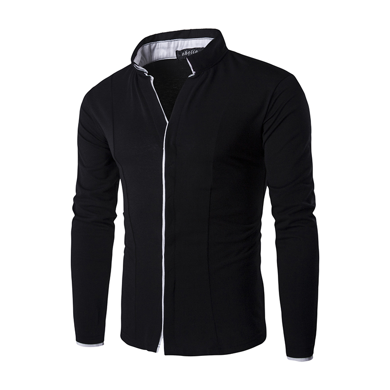 54fe5b8f20a Classic White Shirt male Mens Dress Shirts Korean Style Long Sleeve Solid  Stand Collar Casual Men Blouse C122-in Casual Shirts from Men s Clothing on  ...