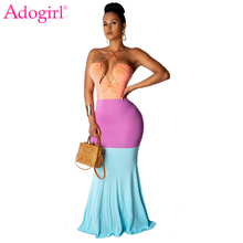 Adogirl Color Patchwork Women Sexy Party Dress Strapless Halter Backless Bodycon Maxi Night Club Robe Long Female Vestidos