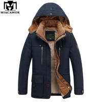 MIACAWOR 40 Degree Warm Winter Jacket Men High Quality Hooded Thicken Parka Men Cotton Outwear Wool Liner Casual Men Coats J521