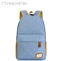 DUDINI Fashion Women Canvas Backpack Mochilas Dot Print Casual Women Schoolbag For Teenager Girls Backpack Mochila