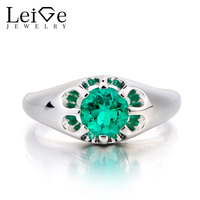 Leige Jewelry Lab Emerald Ring Promise Ring Solitaire Ring Round Cut Green Gemstone 925 Sterling Silver