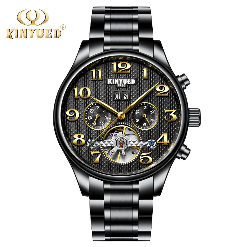 KINYUED Fashion Brand Mechanical Watch Men Casual Men's Automatic Wrist Watches Man Clock Tourbillon Dress erkek kol saati forsining full calendar tourbillon auto mechanical mens watches top brand luxury wrist watch men erkek kol saati montre homme