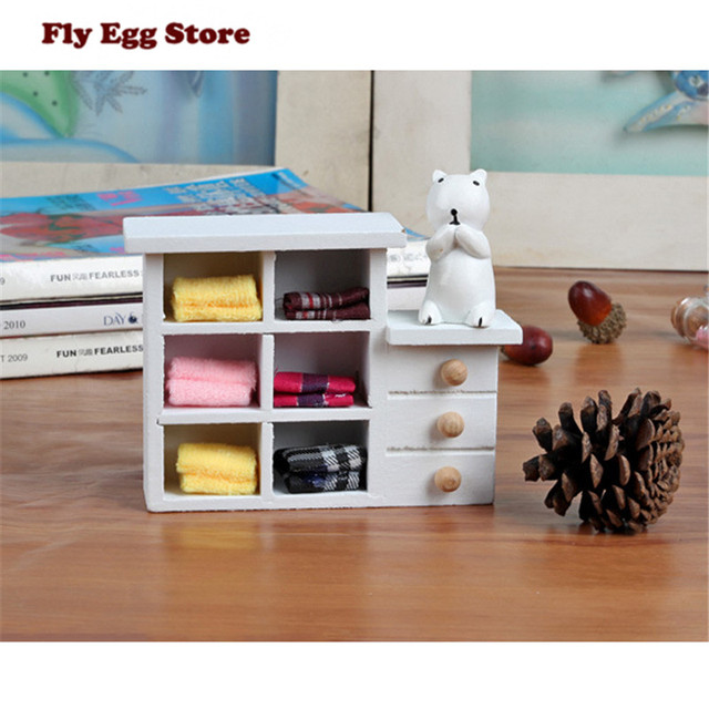Miniaturas Simulation Wooden White Cabinet Toy For Kids Doll Model