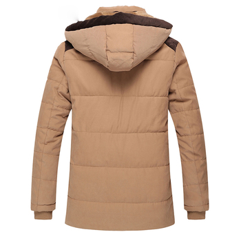 Fashion Patchwork Mens Solid Wadded Coat Long Cotton-padded Jacket Winter Casual Outwears Detachable Hat Hooded Jacket Parka 2XL