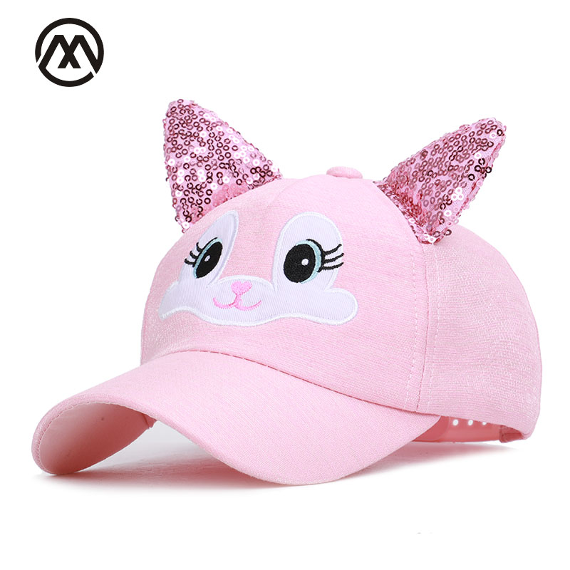Children cute   baseball     cap   rabbit ears sequins ears delicate embroidery animal outdoor shade adjustable high quality boy girl