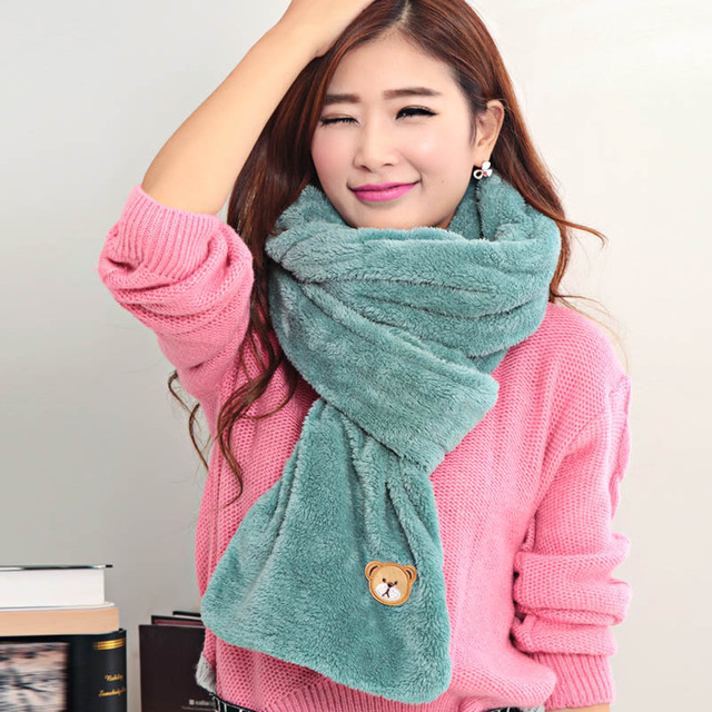 2017 New Women's Long scarf Bear Print Thermal Scarves Double Side Scarf Mujer Shawl Pashmina Ring Hot Sale Promotion