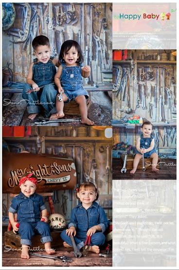 Garage Repair Tool Wood Floor Kids Newborn Photography Backdrops Photo Background for photo studio photocall