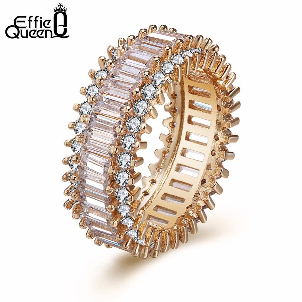 Effie Queen Geometric Design Women Luxury Eternity Rings Wheel Shape Ring For Women Summer Party Jewelry DDR12 eternity s wheel