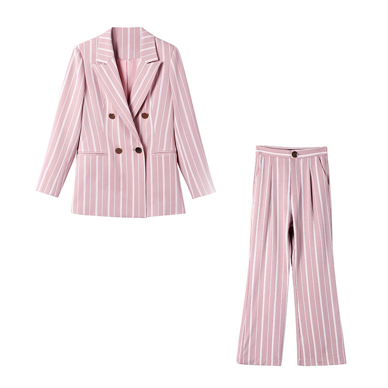 Pink Striped Coat Star Same OL Commuter Women Spring 2019 Button Notched Double Breasted Striped Women Jacket Suit Coat Women