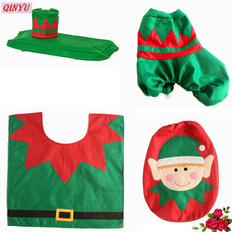 Christmas Toilet Cover With Foot Pad Plus Water Tank Cover