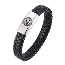 Punk Men Leather Bracelets Stainless Steel Leopard Black Rope Chain Fashion Wristband for Male Gift BB0318