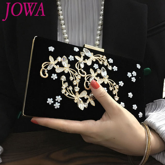 d4bf77b6d2e 2019 Women s Fashion Evening Bags Classic Black Wedding Hard Bag Night  Party Handbag Diamond Flower Velvet Ladies Mini Clutches