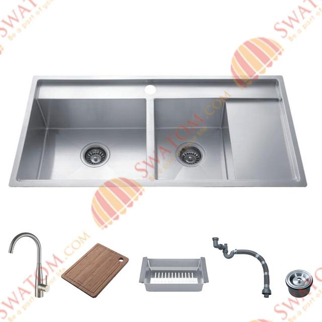 38 Inch 12mm Thickness Stainless Steel Undermount Drop In Double Bowl Kitchen Sink Free