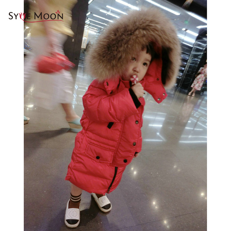 Kids Winter Down Long Jacket Boys Girls 90% White Duck Down Coat Children Fox Raccoon Fur Hooded Baby Thick Warm Clothes Suit girl duck down jacket winter children coat hooded parkas thick warm windproof clothes kids clothing long model outerwear