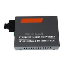 Ücretsiz Kargo HTB GM 03 gigabit fiber optik medya dönüştürücü 1000Mbps Çok Modlu Dubleks SC Port 2KM Harici Güç Kaynağı