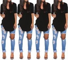 2015 Summer Autumn Short Sleeve V-neck t shirt Women Irregular Black White tshirt  Long Tops