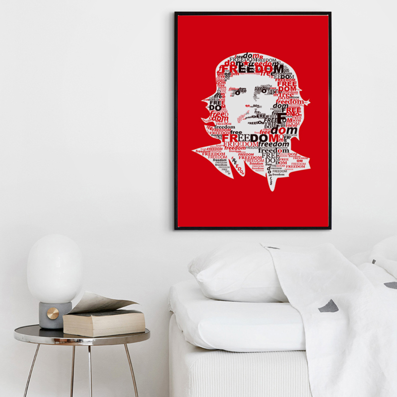 Bianche Wall Letter Guevara Freedom Abstract Canvas Painting Art Print Poster A4 Picture Wall Painting Home Wall Decoration