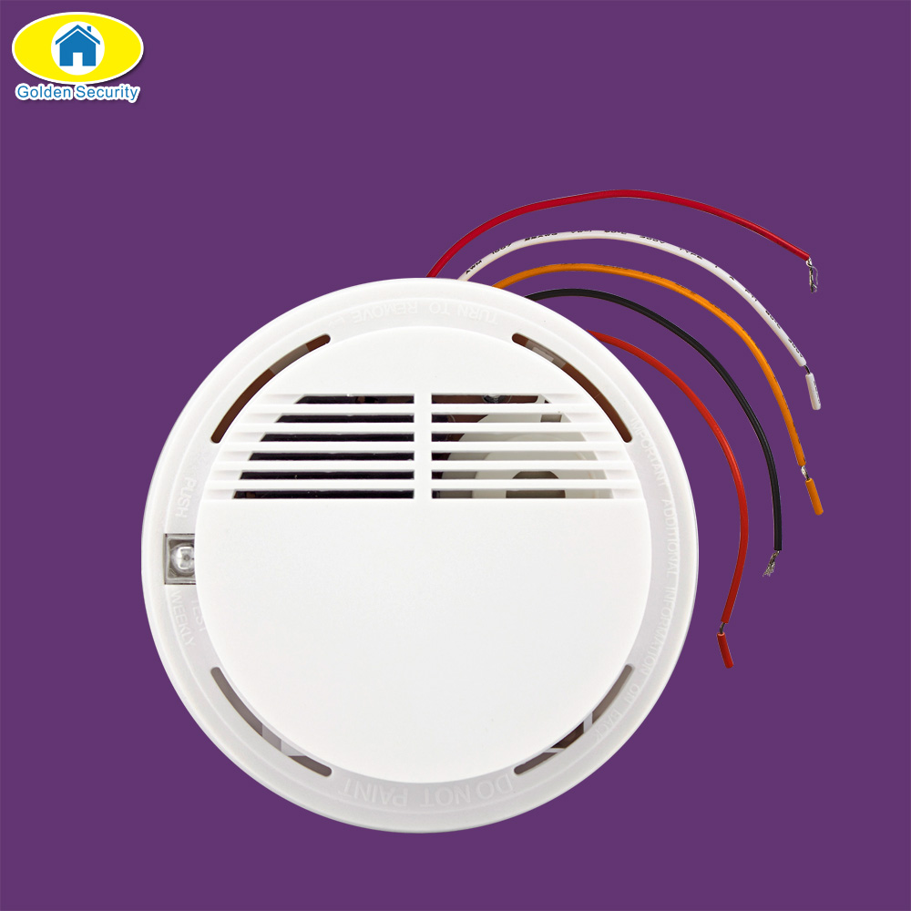 Golden Security Wired Fire Smoke Sensor Detector Alarm Tester for Home Security System NEW Product Fire Alarm Smoke Detector