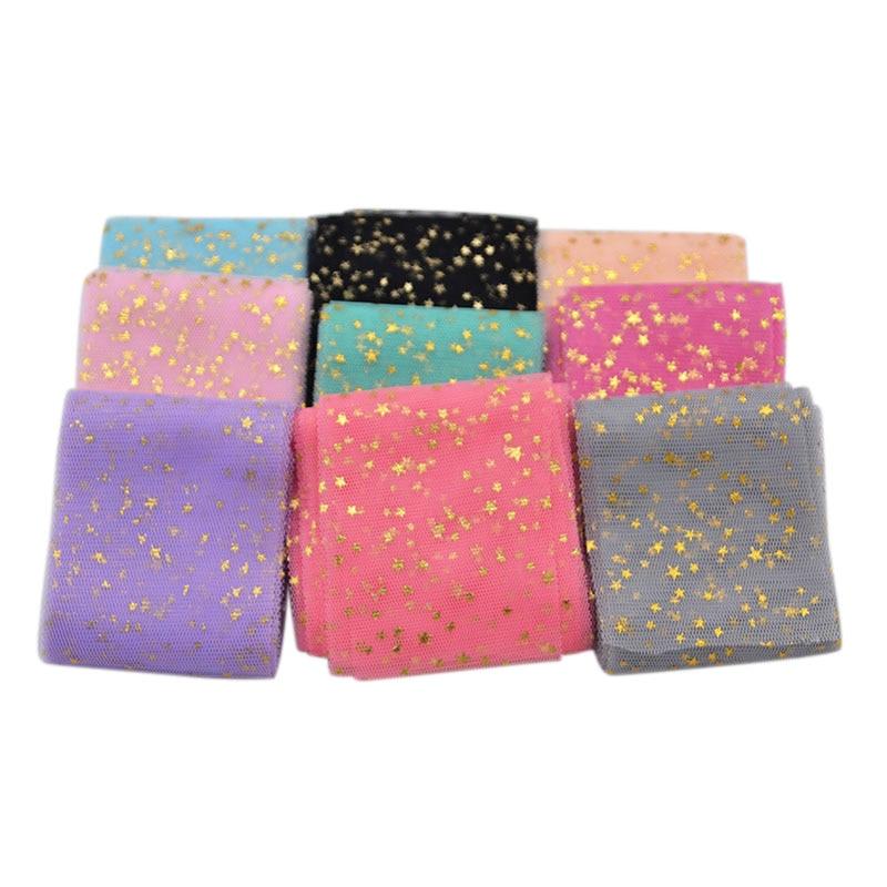 6 см * 5 м ткани Бумага тюль ролл Золотая Звезда Настольная дорожка Шелковый цветок Baby Shower День рождения Свадебные для рождественской вечеринки decorattion