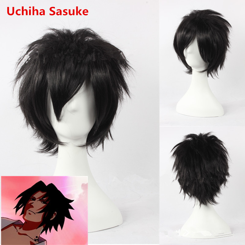 Anime NARUTO Uchiha Sasuke Cosplay Wig Kid Adults Black Short Fluffy Curl Hair Wig Cosplay Playing Wig Hair Accessories