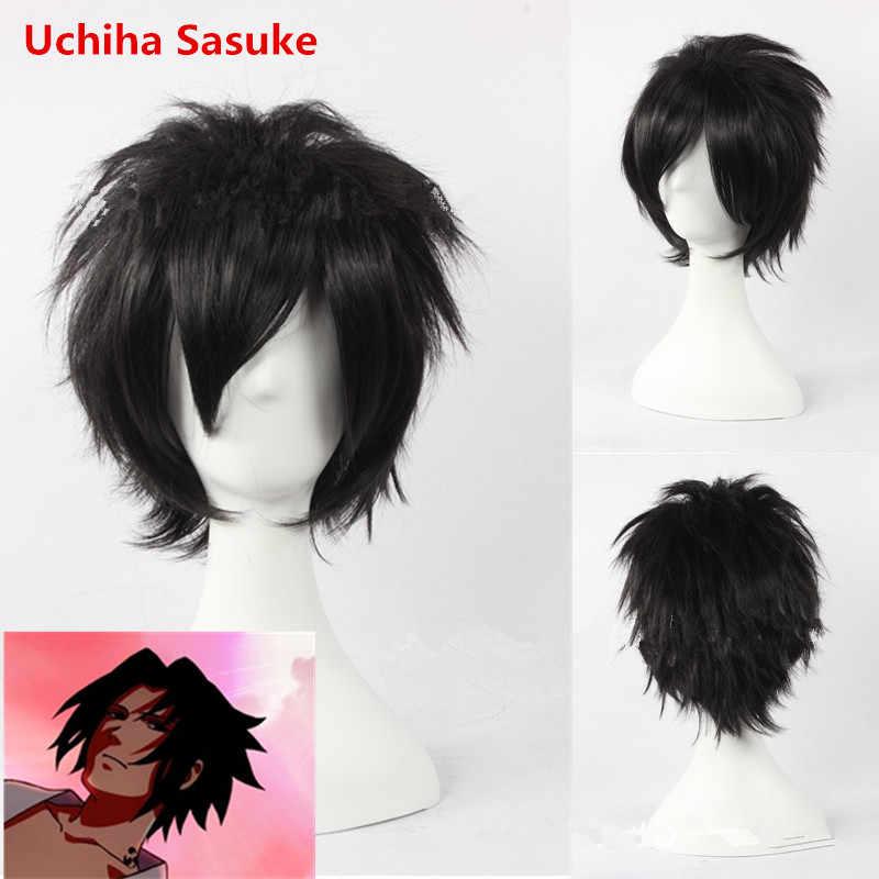 Аниме Наруто Учиха Косплей-костюм SASUKE парик для детей и взрослых черный короткий пушистый кудрявый парик косплей игра парик аксессуары для волос