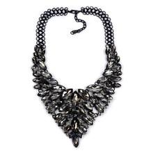 2016 New Crystal Gem Collar Luxury Noble Bridal Rhinestone Black Necklaces Statement Women Fashion Jewelry