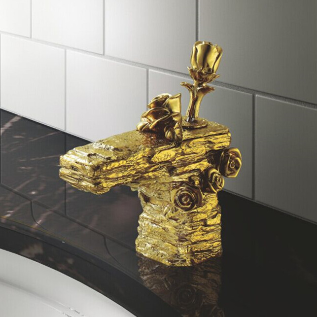 Wholesale And Retail Deck Mount Waterfall Bathroom  Faucet Rose Rocker handle faucet Tap Cold And Hot Water LC-66D1-A