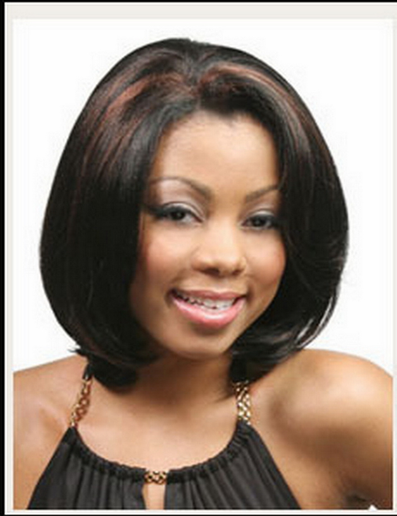 Black women with highlighted hair - Fashion Natural Highlights Black Brown Ombre Short Wigs For Black Women Heat Resistant Synthetic Straight Cheap