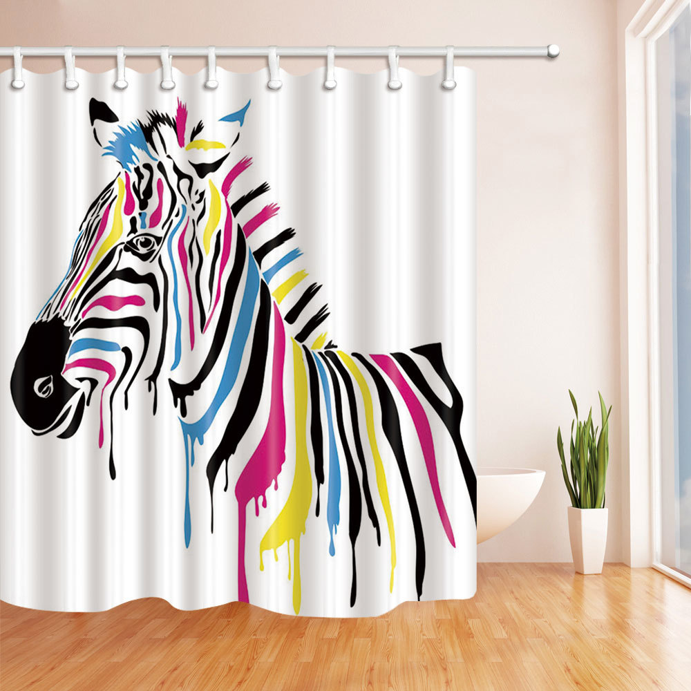 Printing Polyester Shower Curtain Waterproof Bathroom Curtain with Hooks Home Decor Bathroom Accessory Multicolor Zebra 1PC
